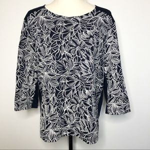 J. Crew Embroidered Flower 3/4 Sleeve Cotton Tee L